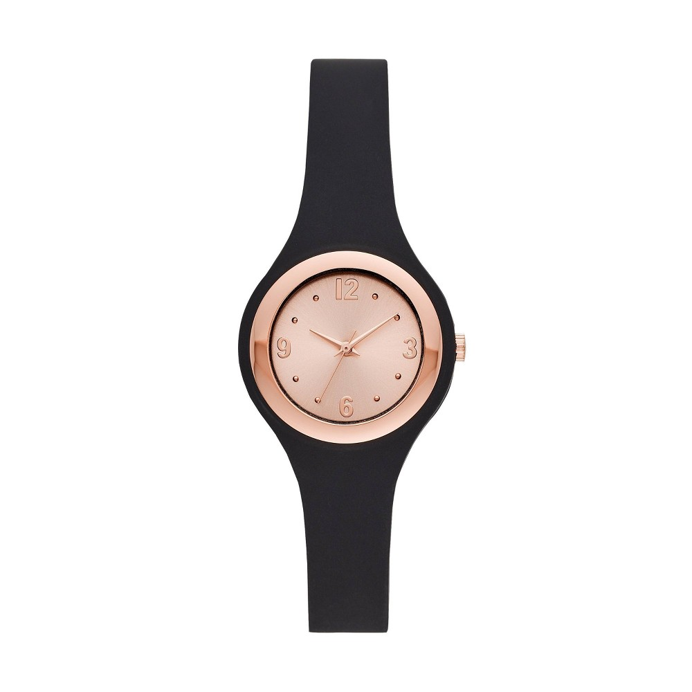 Women S Rubber Unibody Strap Watch A New Day 8482 Rose Gold Black