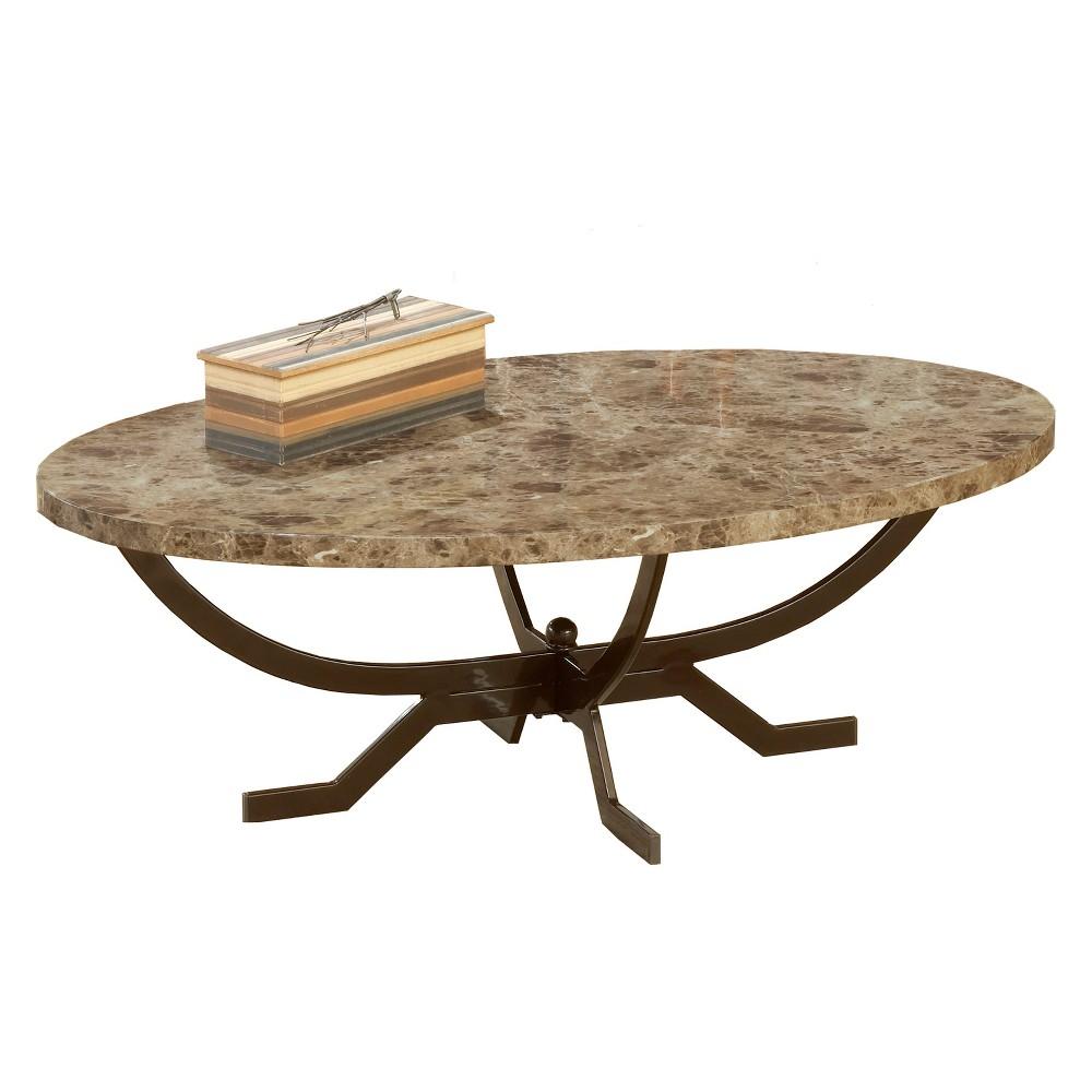 Monaco Metal & Marble Coffee Table - Matte Espresso - Hillsdale Furniture, Espresso Brown