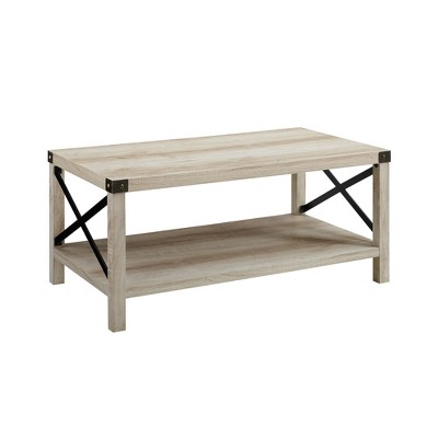 40  Metal X Coffee Table White Oak/Bronze - Saracina Home