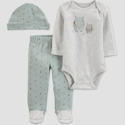 Baby Boys' 3pc Hippo Top and Bottom Set with Hat - Just One You® made by carter's Green/Gray Newborn