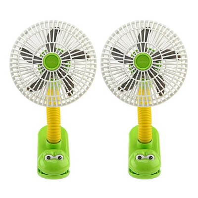 "O2COOL 2pk 4"" Battery Powered Portable Clip Fan"