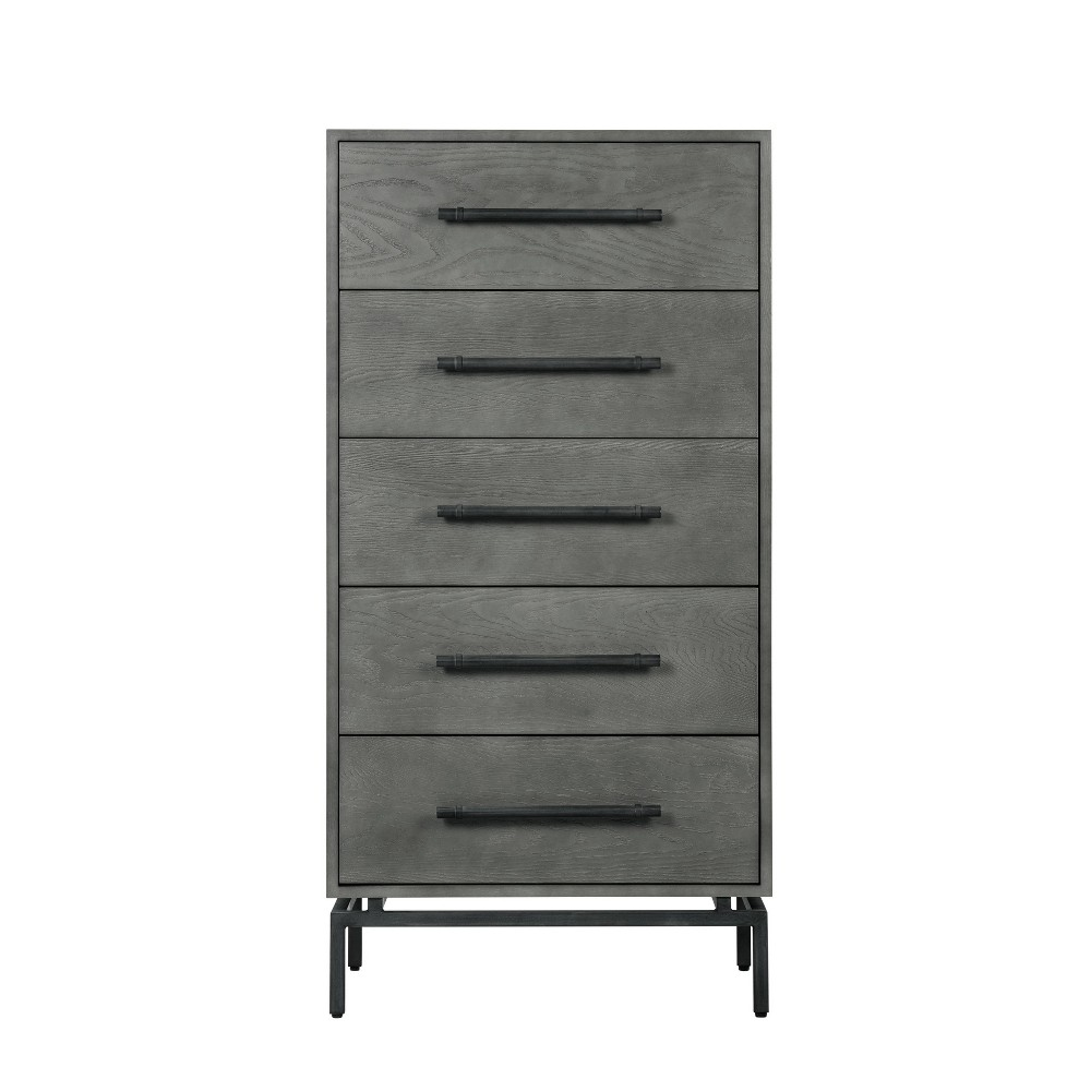 Image of Ashton 5 Drawer Wood and Metal Chest Gray - Finch