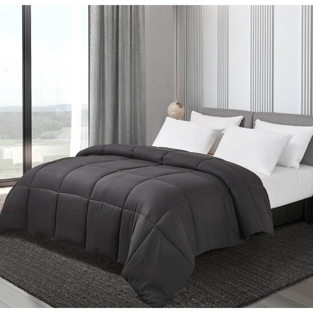 Image of Full/Queen Microfiber Down Alternative Comforter Black - Blue Ridge Home Fashions