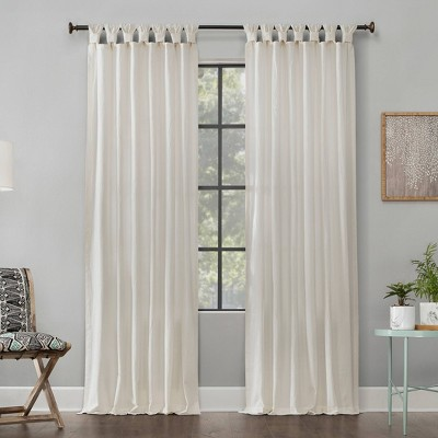 "95""x52"" Washed Cotton Twisted Tab Light Filtering Curtain Panel Ivory - Archaeo"