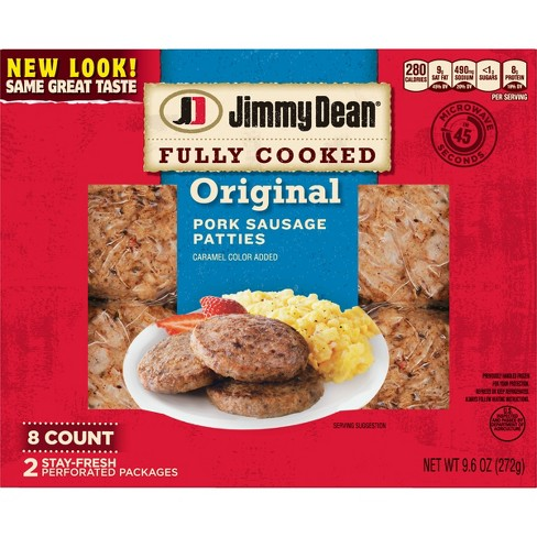 Jimmy Dean Original Fully Cooked Pork Sausage Patties - 8ct/9.6oz - image 1 of 2