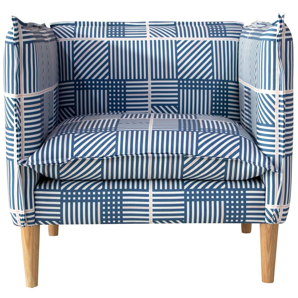 French Seam Chair in Framed Stripe Navy (Blue) - Cloth & Co.