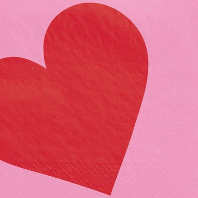 30ct Disposable Beverage Napkins Heart - Spritz™