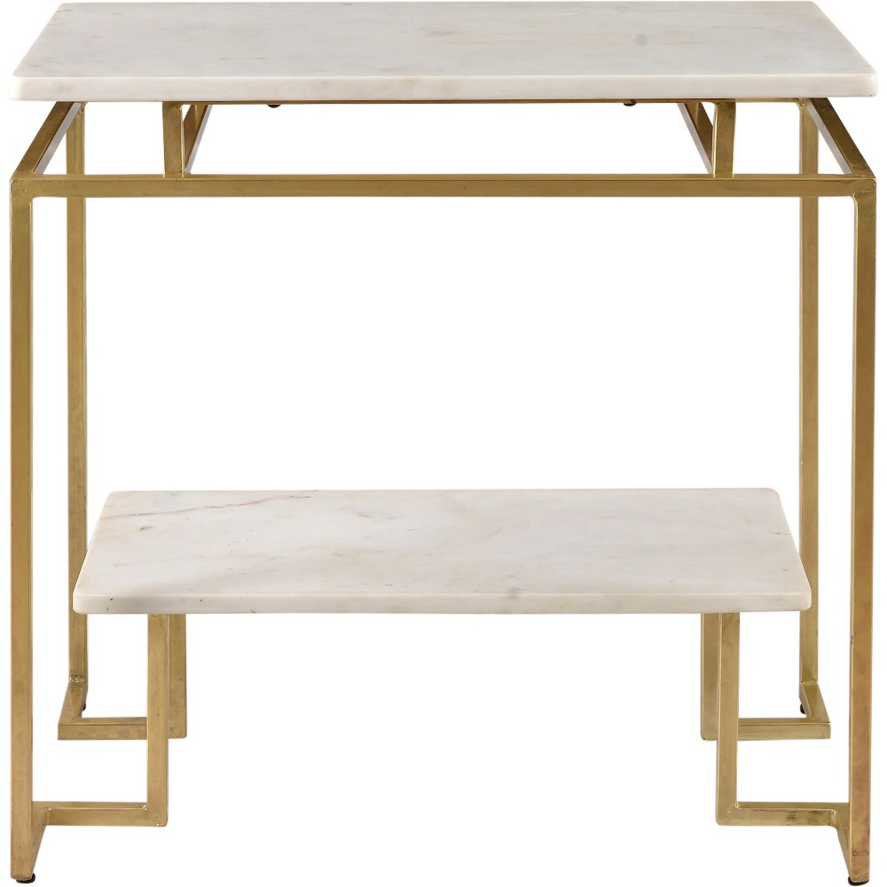 Canadel White Marble Accent Table Gold - Treasure Trove
