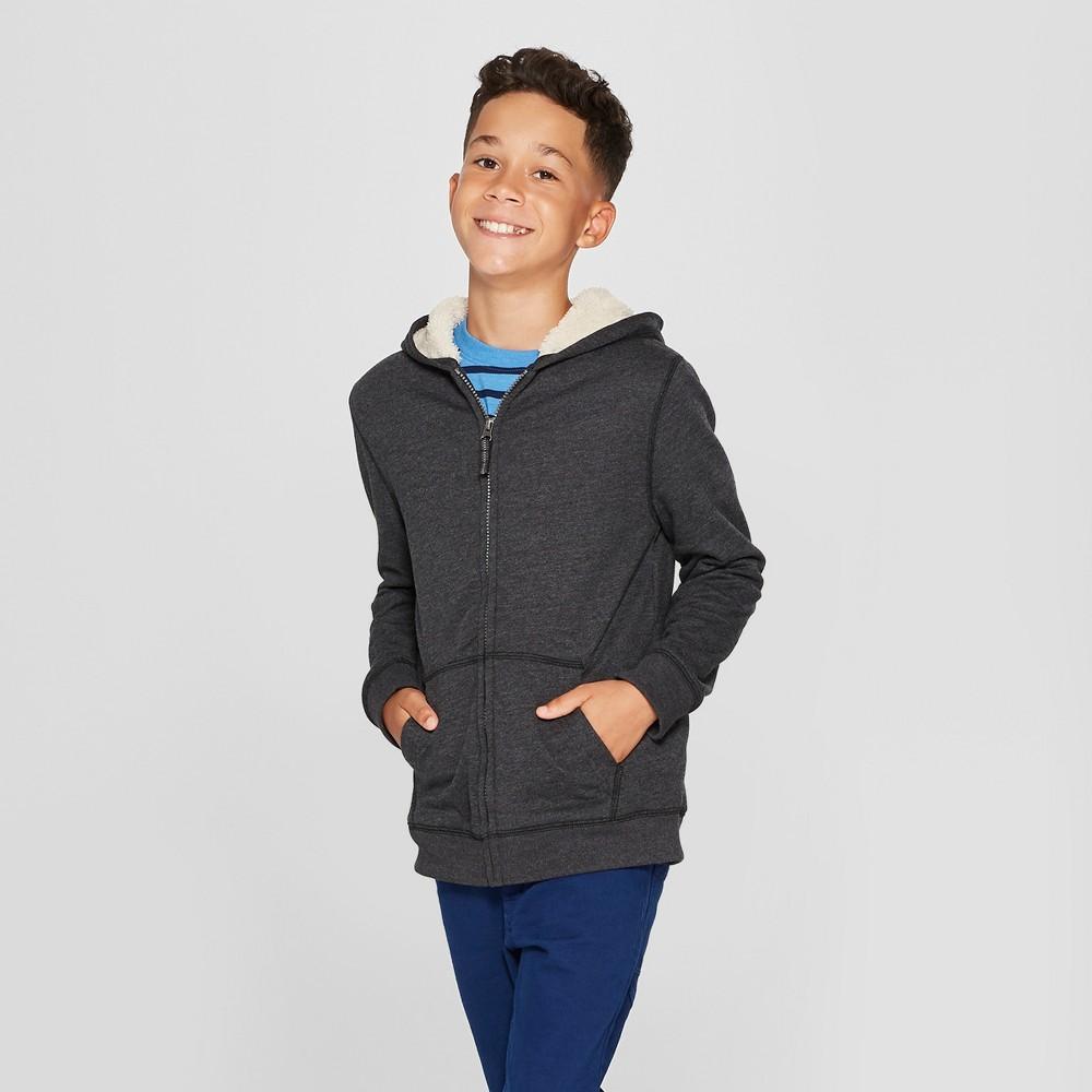 Boys' Sherpa-Lined Sweatshirt - Cat & Jack Heather Charcoal XS