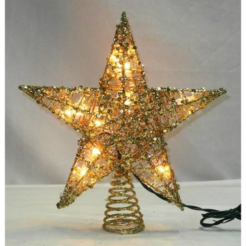 Northlight 12 Lighted Glittering Gold Christmas Star Tree Topper Clear Lights