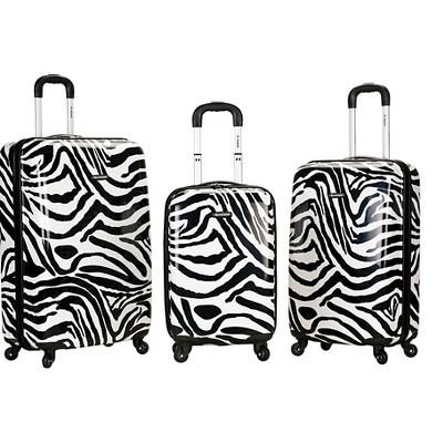 Rockland Safari 3pc Polycarbonate/ABS Spinner Luggage Set - Zebra