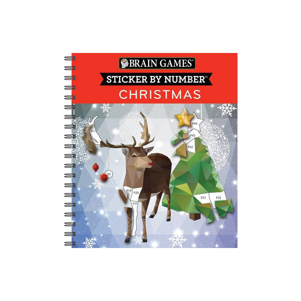 Brain Games Sticker By Number Christmas Geometric Stickers Spiral Bound