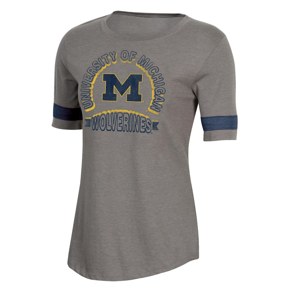 NCAA Women's Short Sleeve Scoop Neck T-Shirt Michigan Wolverines - L, Multicolored