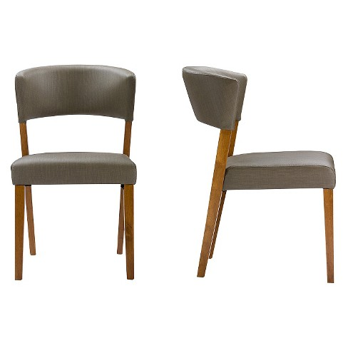 daab7d917b Montreal Mid-Century Wood Gray Faux Leather Dining Chairs - Brown ...
