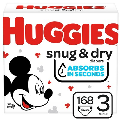 Huggies Snug & Dry Diapers Huge Pack - Size 3 (168ct)