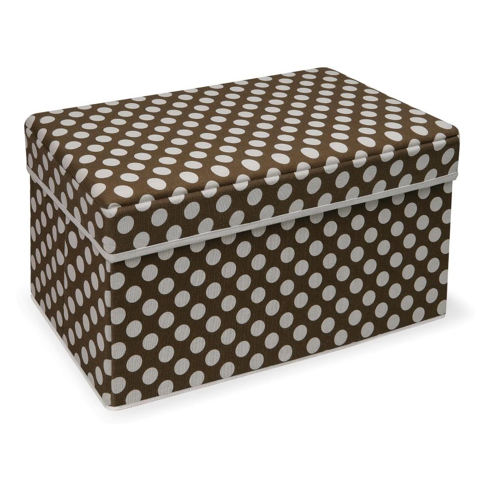 Image of Badger Basket Double Folding Storage Seat Brown Polka Dot