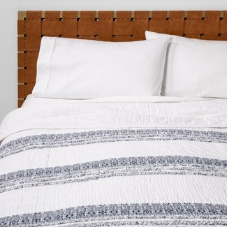 Full/Queen Chenille Stripe Quilt White - Opalhouse™