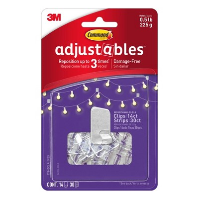 Command 1/2 lb 14pc 30 Strips Adjustable Repositionable Clips