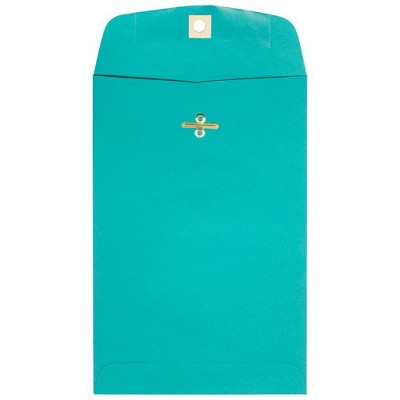 JAM Paper 50pk 6 x 9 Open End Catalog Envelopes with Clasp Closure - Sea Blue Recycled