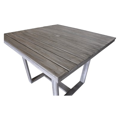 Teak Contemporary Bay Side Outdoor Square Dining Table   Driftwood Gray    Courtyard Casual : Target