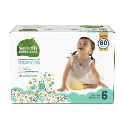 Seventh Generation Free & Clear Diapers Size 6 - 60ct