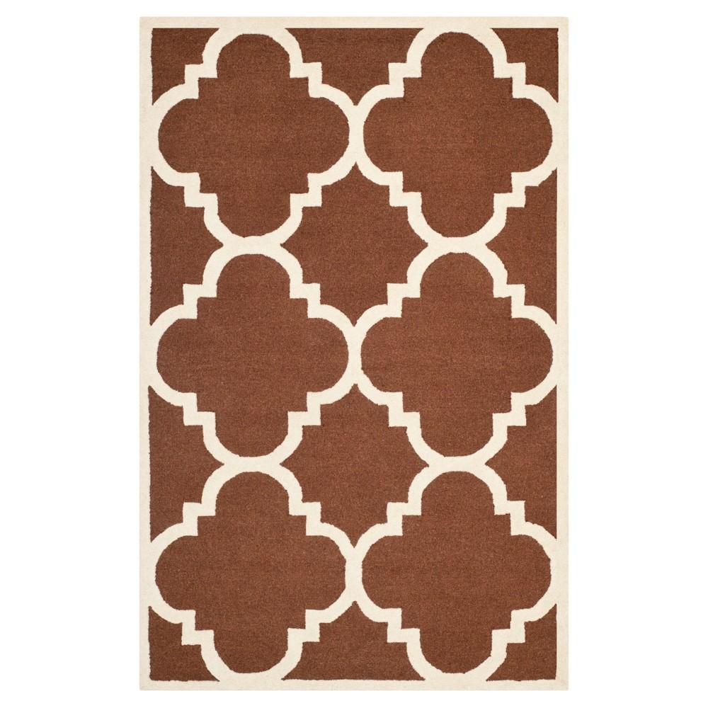 Landon Texture Wool Rug - Dark Brown / Ivory (5' X 8') - Safavieh, Dark Brown/Ivory