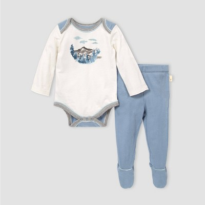 Burt's Bees Baby® Baby Boys' Mountainscape Bodysuit and Pants Set - Blue/Gray 3-6M