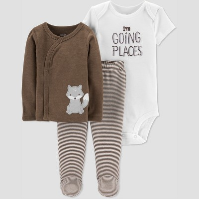 Baby Boys' 3pc Fox Cardigan Set - Just One You® made by carter's Brown 3M