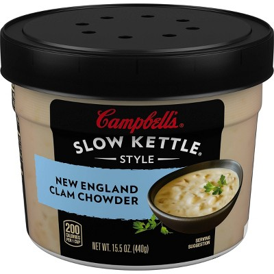 Campbell's Slow Kettle Style New England Clam Chowder Soup Microwaveable Bowl 15.5oz