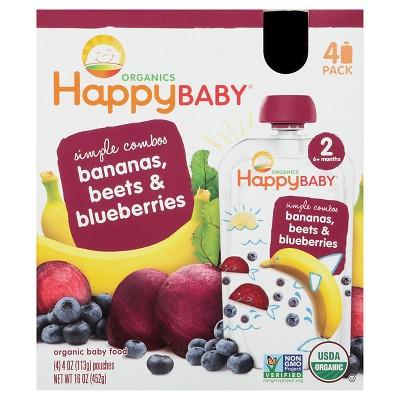 Happy Baby Organic Baby Food - Bananas, Beet & Blueberry 3.5oz 4pk