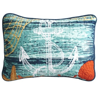 Lakeside Nautical Anchor Pillow Sham for the Bedroom or Furniture