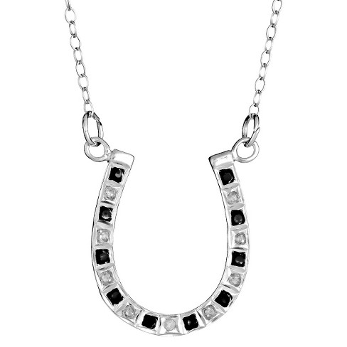 Sterling Silver Horseshoe Necklace with Diamond Accents - White - image 1 of 1