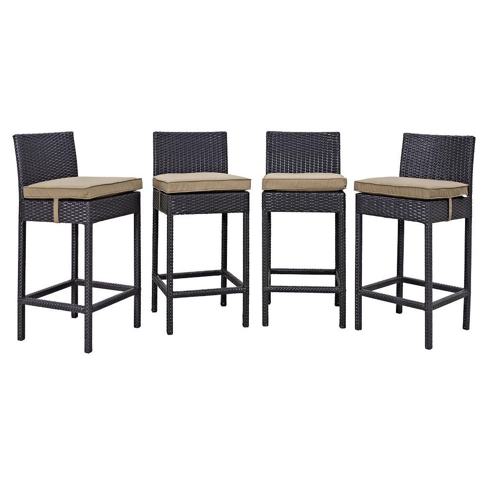 Convene 4pk All-Weather Wicker Patio Pub Chairs Espresso/Mocha - Modway, Green