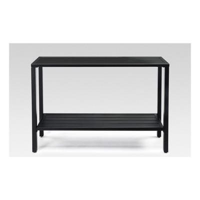 Metal Slat Indoor/Outdoor Console Table Black   Threshold™
