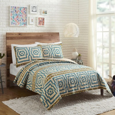Full/Queen Hypnotic Global Quilt & Sham Set Blue - Justina Blakeney for Makers Collective