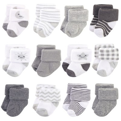 Hudson Baby Infant Unisex Cotton Rich Newborn and Terry Socks, Moon, 0-3 Months