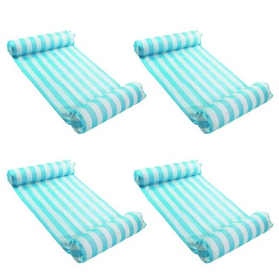 Magic Time International 91613VM Inflatable PVC Vinyl Striped Hammock Chair Pool Float, Teal and White with Double Inflatable Tubes (4 Pack)