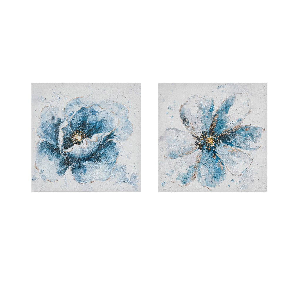 Image of 2pc Florals Printed Canvas Set Blue
