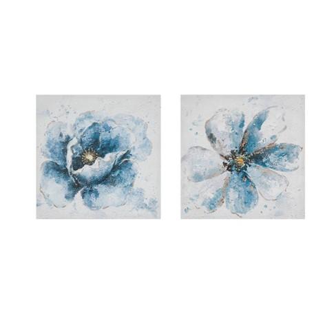2pc Florals Printed Canvas Set Blue - image 1 of 4