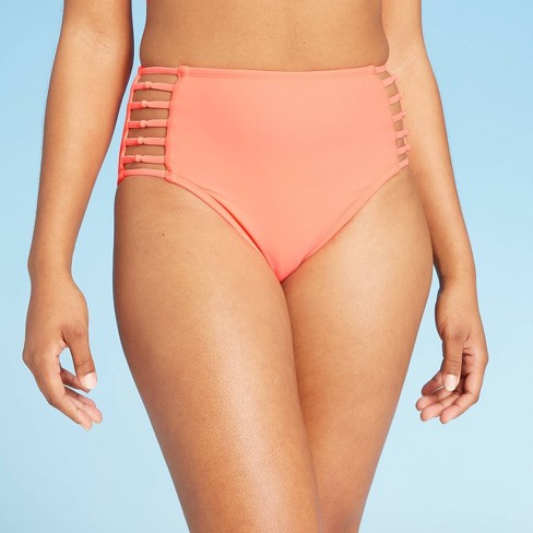 Women's Knoted Strappy Side High Waist Hipster Bikini Bottom - Shade & Shore™ Bright Melon - image 1 of 4