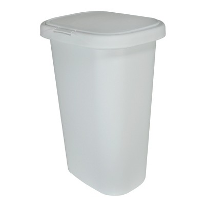 Rubbermaid 13 Gallon Rectangular Spring-Top Lid Kitchen Wastebasket Trash Can for Tall Trashbags, White