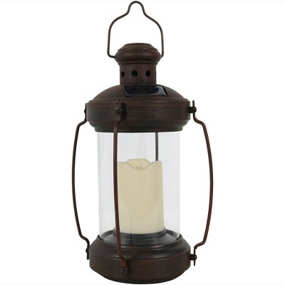 """Sunnydaze Outdoor Antique Style Hanging Solar Lantern Light with LED Light and Candle - 12"""" - Bronze"""