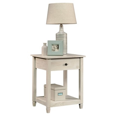 Edge Water Side Table with Drawer and Stationary Shelf - Chalked Chestnut - Sauder