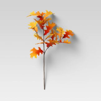 "28"" Artificial Oak Leaf Stem Orange - Threshold™"