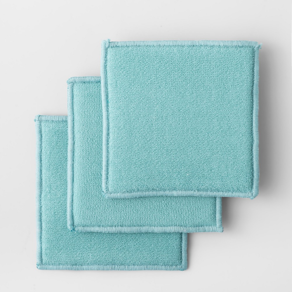 3pk Solid Scrubbies Aqua (Blue) - Made By Design