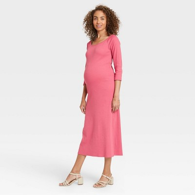 The Nines by HATCH™ 3/4 Sleeve Ribbed Maternity Dress Dark Pink