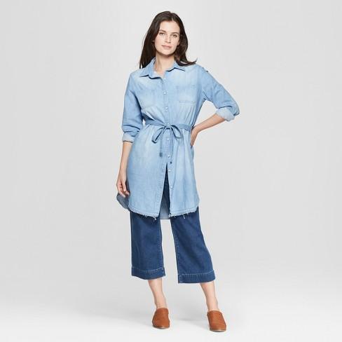 30a0bd52146 Women s Long Sleeve Denim Shirtdress - Universal Thread™ Light Wash ...