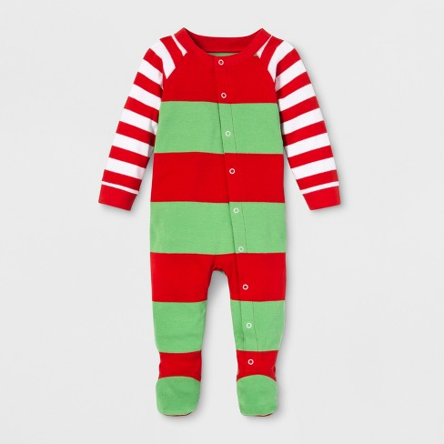 0dee627a5 Baby Striped Holiday Rugby Footed Sleeper - Wondershop™ Red 6-9M ...