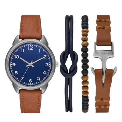 Men's Blue Dial Strap Watch Set - Goodfellow & Co™ Brown