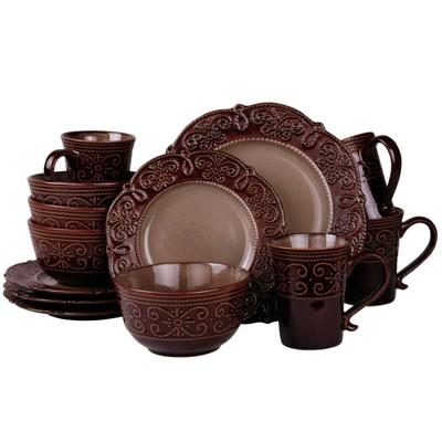 16pc Stoneware Antique Elegance Embossed Dinnerware Set Brown - Elama